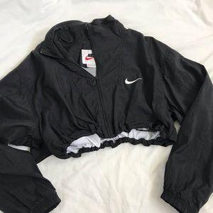 Black Nike drawstring crop windbreaker